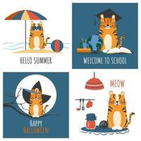 Set of childrens greeting cards with striped cartoon cute orange tiger. Vector flat illustration of funny feline predator for kids