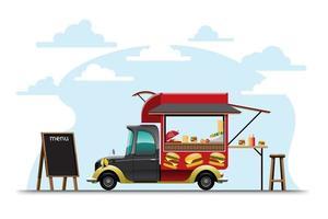 Food truck with Hamburger shop drawing vector