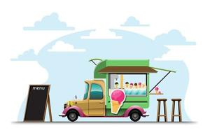 The food truck side view with ice cream counter vector