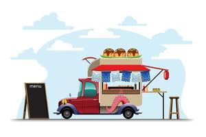 Food truck with Takoyaki shop Japanese decoration vector