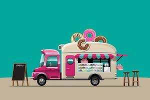 Food truck with Donut snack shop drawing vector