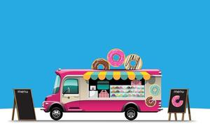 Food truck with Donut shop snack drawing vector