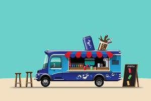 The food truck side view with beverage banner vector