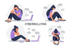 Set of depressed woman sitting with phone in front of laptop screen  surrounded by message bubbles. Cyber bullying in social networks and online abuse concept. Vector flat cartoon illustration