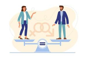 Man and woman standing on weighing dishes of balance scale. Concept of gender equality. llustration of male and female equal rights for both sexes. Vector illustration in flat cartoon style for banner