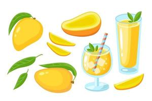 Mango juice, cocktail, slice, whole with leaf and pieces set isolated on white. Juice or jam logo element. Vector flat illustration tropical fruits. Design  for print, banner, background, packaging