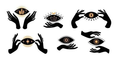 Boho black hands silhouettes esoteric icons with spiritual symbols  crescent moon,  star, eye, sun. Black female mystical concept. Vector flat illustration. Design for t-shirt prints, posters, tattoo