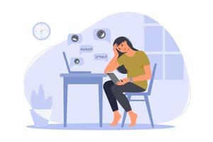 Depressed woman sitting with phone in front of laptop screen  surrounded by message bubbles. Cyber bullying in social networks and online abuse concept. Vector flat cartoon illustration