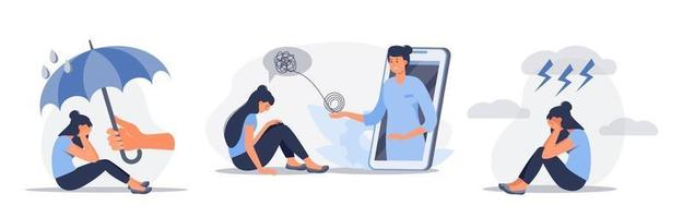 Set of depressed sitting woman. Online psychotherapy counseling concept. Mental health, depression. Human mental problem solutions. Vector flat cartoon illustration