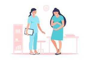 Pregnant woman with doctor in hospital medical office examination during pregnancy. Vector flat illustration. Pregnancy and maternity concept. Expectant mother, motherhood, single mother.
