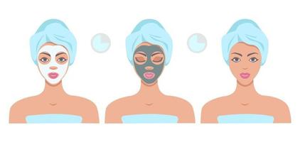 Beautiful woman with facial masks isolated on white background. Procedure of applying face sheet mask, beauty treatment, facial cleansing mask. Face scin care concept. Vector flat illustration.
