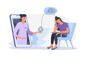 Depressed woman sitting  on chair. Psychologist doctor consulting patient in therapy session. Online psychotherapy counseling concept. Mental health, depression. Human mental problem solutions. vector