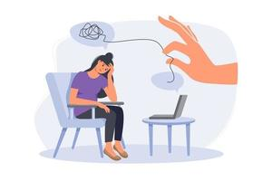 Psychologist doctor consulting patient in therapy session.. On line psychotherapy counseling concept. Mental health, depression. Human mental problem solutions. Modern flat cartoon style vector