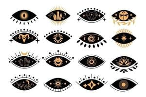 Set of boho silhouette mystical eyes with sun, crescent moon, goat, lotus, cristal in trending minimal linear style. Collection vector isoteric illustration. Design for t-shirt prints, posters, tattoo