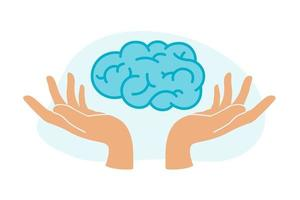 Human hands hold human brain. Mental health treatment. Psychology, emotion and psychotherapy concept. World mental health day.Vector illustration for learning, problem solving, trainings, courses. vector