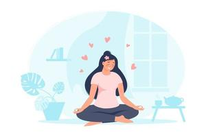 Woman sitting in lotus pose at home with plant, teapot, books, hearts. Female practicing yoga. Vector flat illustration. Concept of self care and healthy lifestyle for banner, landing page, card