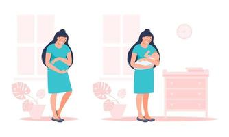 Pregnant future mother and female with newborn child. Pregnancy and maternity concept. Vector flat illustration.  Design cute young woman for poster, card, banner