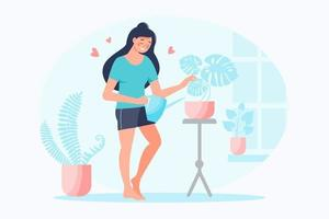 Happy smiling woman watering home plants with pink hearts around. Self care, love yourself concept. Take time for your self. Vector flat illustration. Design for banner, landing page, card