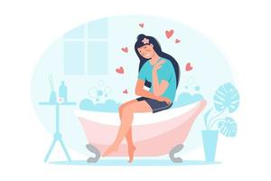 Love yourself concept. Female character spend time in the bathroom and relaxing. Smiling woman hug herself with hearts, plant, foam, bath, table. Design for banner, flyer, card vector