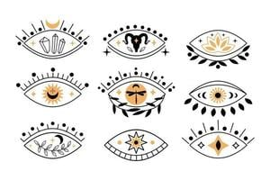 Set of boho mystical eyes icons with sun,  crescent moon, goat, lotus, cristal in trending minimal linear style. Collection vector isoteric illustration. Design for t-shirt prints, posters, tattoo