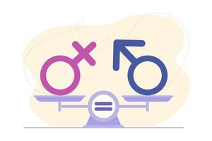 Gender equality concept. Male and female gender sign on scales. Symbol of confidence, teamwork, success and achievement. Flat cartoon style illustration. Design for landing page, web, flyer vector