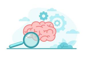 Colorful human brain with gears, magnifying glass in flat style. Creative thinking, education, research, business idea, mental health concept. Design for learning,  trainings, courses. vector