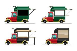 bundle set of food truck on white background vector