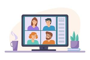 Video conference chat with men and women on laptop. Learning or meeting online with teleconference. Videoconferencing and online meeting workspace   illustration on flat style. Distance education vector