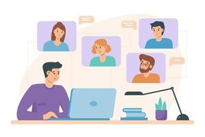Video conference chat with men and women on laptop. People on computer screen taking with colleague. Videoconferencing and online meeting workspace   illustration on flat style. Distance learning. vector
