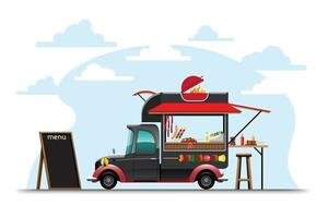 Food truck with Barbecue shop drawing vector