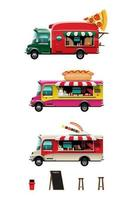 Set of food truck on white background vector illustration