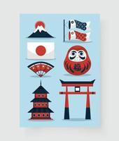 Drawing symbol and icons travel at japan in cartoon vector
