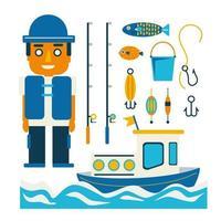 Fisherman and boat fishing and set Fishing rod cartoon vector