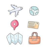 Items for travel in cartoon character vector