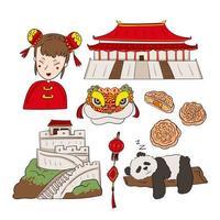 los hitos históricos y símbolo del vector de china