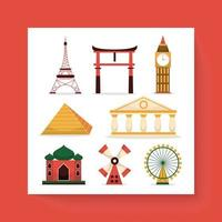 Asian landmarks historical city buildings and constructions vector