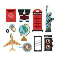 Drawing symbol and icons travel at America in cartoon vector