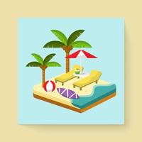 Drawing symbol and icons summer travel in cartoon vector