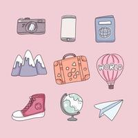 items for travel in cartoon character, vector