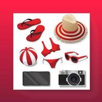 Summer Beach Icons cartoon  vector