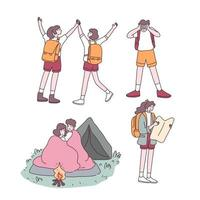Backpack Teenager couple traveler cartoon character vector
