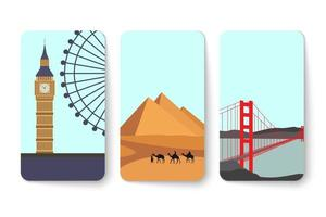 Set of travel card with landmark place vector