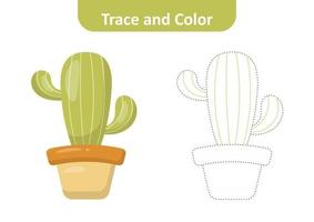 Trace and color for kids, cactus vector