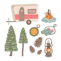 Adventure travel with recreational vehicle in cartoon character vector
