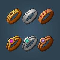 vector de dibujos animados de anillos de plata y oro de bronce