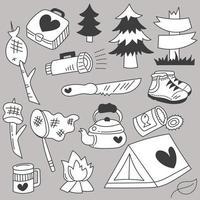 conjunto de vector de boceto de dibujo a mano de vacaciones de verano