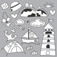 Set of travel camping on summber holidays cartoon vector
