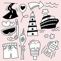 Set of travel camping on holidays cartoon hand drawing vector