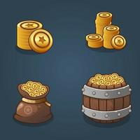 Set of Game resource coins vector