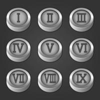 Set of Roman numeral silver coins vector